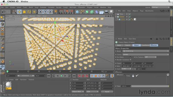 Creating movement with the Time Effector: CINEMA 4D Essentials 7: MoGraph Modeling and Animation
