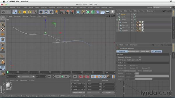 Building and animating a train using the Matrix object: CINEMA 4D Essentials 7: MoGraph Modeling and Animation