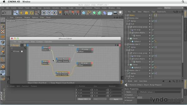 Controlling multiple objects with a single slider: CINEMA 4D Essentials 8: Character Rigging and Xpresso