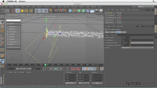 Working with particle forces: CINEMA 4D Essentials 9: Particles and Dynamics