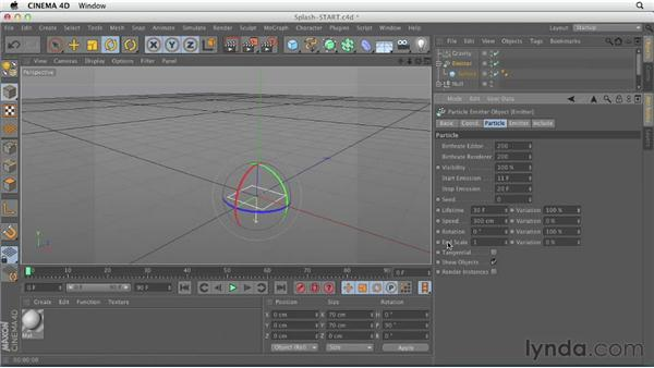 Particle exercise: Creating an impact splash: CINEMA 4D Essentials 9: Particles and Dynamics