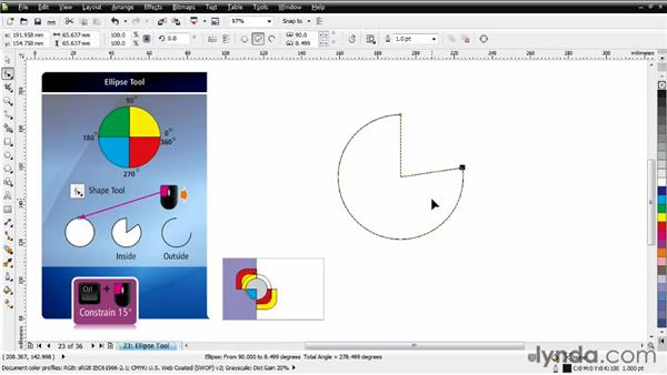 Working with the Ellipse tool: CorelDRAW Essential Training