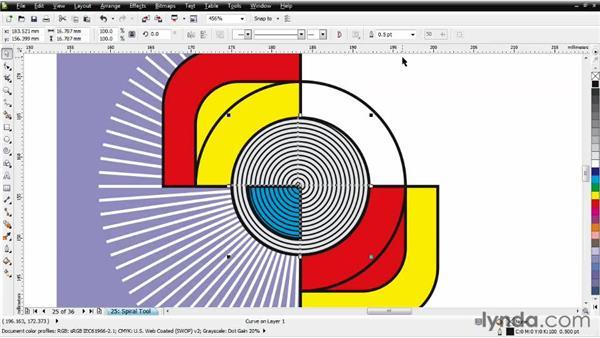 Adding a shadowed spiral: CorelDRAW Essential Training