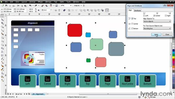 Aligning objects: CorelDRAW Essential Training