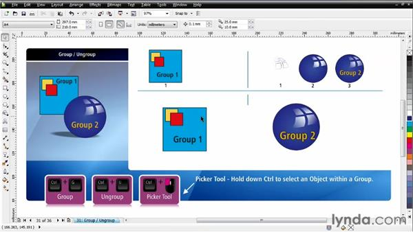 Understanding Group and Ungroup: CorelDRAW Essential Training
