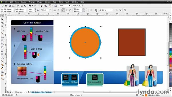 Coloring objects and using Uniform fill: CorelDRAW Essential Training