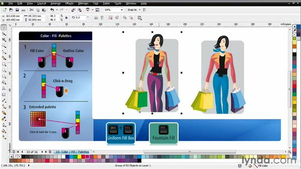 Understanding the Color palette and the Document palette: CorelDRAW Essential Training