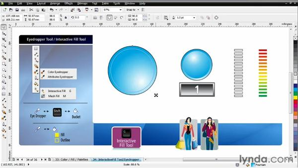 Working with the Interactive fill tool: CorelDRAW Essential Training