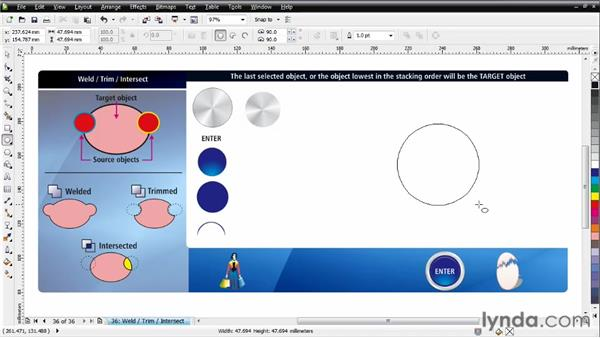 Exploring examples using Weld, Trim, and Intersect: CorelDRAW Essential Training