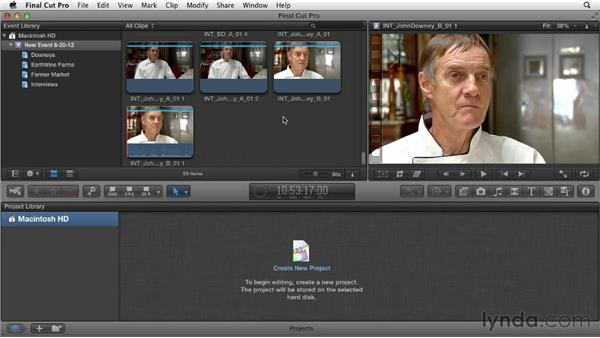 Importing footage: Documentary Editing with Final Cut Pro X v10.0.9
