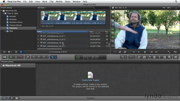 Organizing and screening interview and B-roll footage: Documentary Editing with Final Cut Pro X v10.0.9