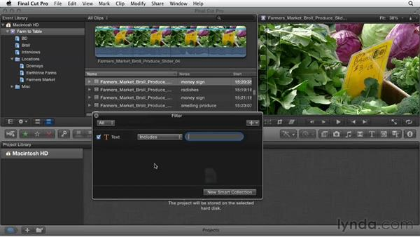 Filtering and searching for clips: Documentary Editing with Final Cut Pro X v10.0.9