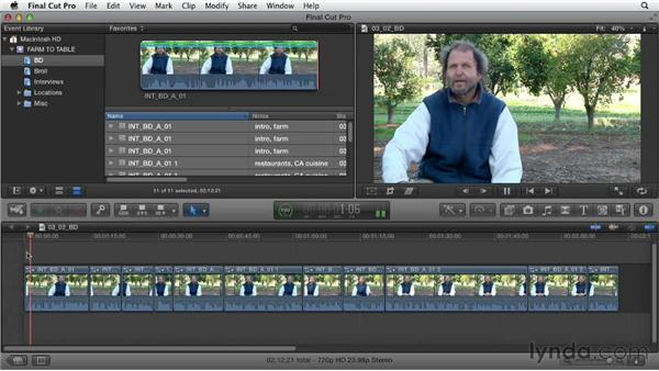 Creating mini-storylines to contain groups of clips: Documentary Editing with Final Cut Pro X v10.0.9