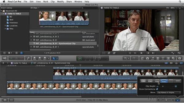 Syncing audio tracks from two different cameras: Documentary Editing with Final Cut Pro X v10.0.9