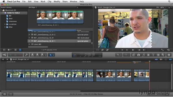 Combining primary story segments into a primary storyline: Documentary Editing with Final Cut Pro X v10.0.9