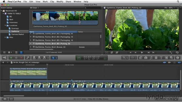 Adding cutaways from B-roll footage: Documentary Editing with Final Cut Pro X v10.0.9