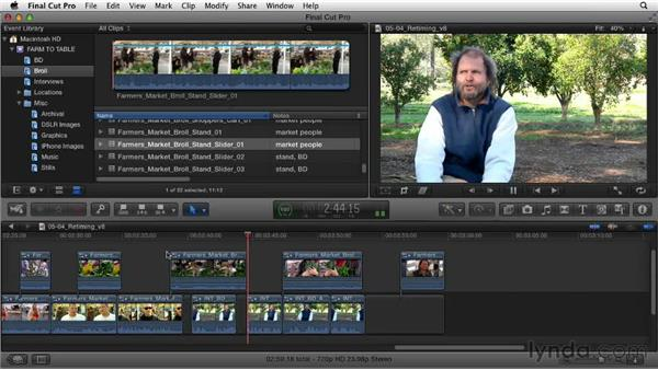 Retiming clips: Documentary Editing with Final Cut Pro X v10.0.9