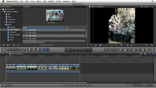 Editing still images or creating a montage: Documentary Editing with Final Cut Pro X v10.0.9