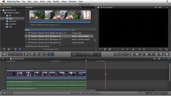 Incorporating sound effects: Documentary Editing with Final Cut Pro X v10.0.9