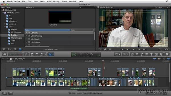 Adding titles and lower thirds: Documentary Editing with Final Cut Pro X v10.0.9