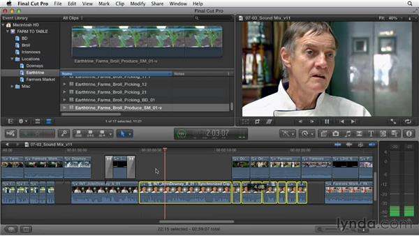 Combining and mixing sound sources: Documentary Editing with Final Cut Pro X v10.0.9