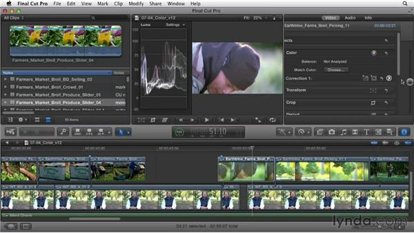 Matching and correcting color in clips: Documentary Editing with Final Cut Pro X v10.0.9
