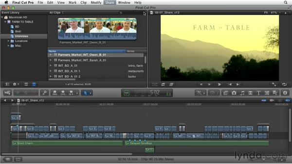Sharing the movie: Documentary Editing with Final Cut Pro X v10.0.9