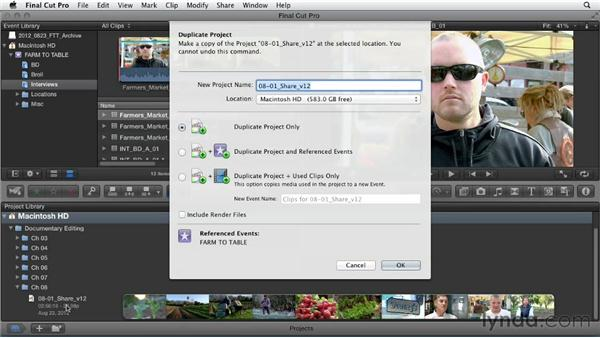 Archiving the project: Documentary Editing with Final Cut Pro X v10.0.9