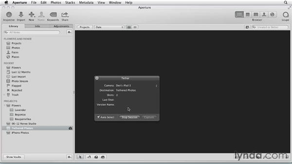 Importing live images from an iPad or an iPhone: Aperture 3 Essential Training (2012)