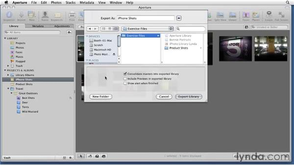 Exporting single or multiple projects as libraries: Aperture 3 Essential Training (2012)