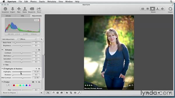 Adjusting highlights and shadows: Aperture 3 Essential Training (2012)