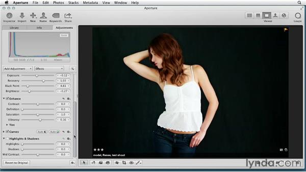 Understanding the changes in the revised Shadows and Highlights tool: Aperture 3 Essential Training (2012)