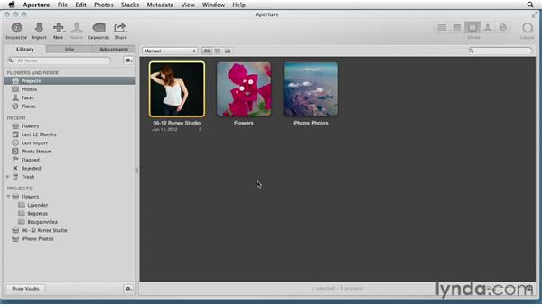 Deleting images from the iPhone, reordering projects, and setting the desktop photo: Aperture 3 Essential Training (2012)