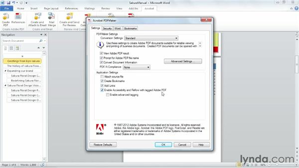 Creating PDFs from Word documents: Up and Running with Acrobat XI
