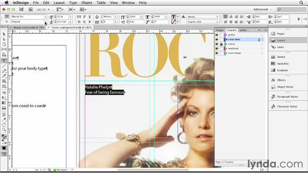Adding cover lines: Designing a Magazine Cover