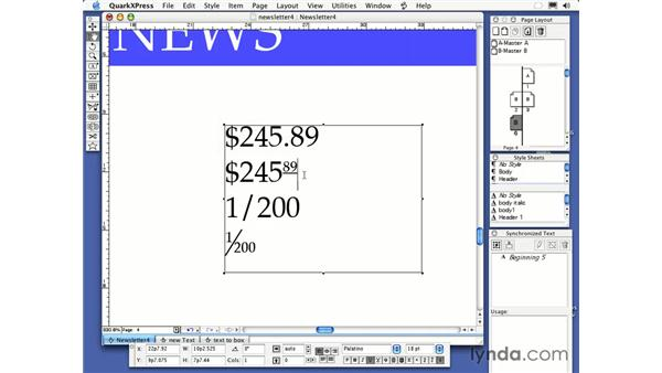 fractions and prices: QuarkXPress 6 Essential Training