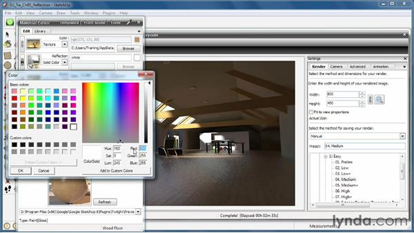 Creating reflective surfaces: SketchUp Rendering Using Twilight