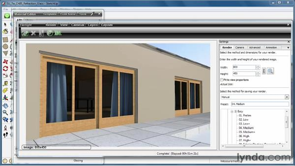 Creating glassy refractive surfaces: SketchUp Rendering Using Twilight
