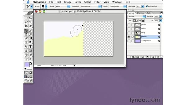 using the color replacement tool: Learning Photoshop CS for the Web