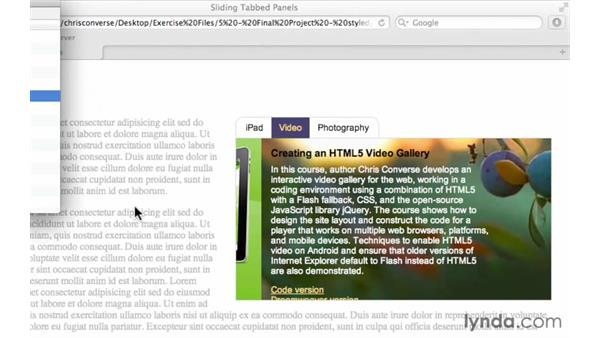 Previewing the final project: Create a Sliding Tabbed Panel with jQuery