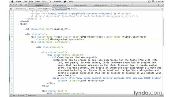 Assigning custom classes to the HTML elements: Create a Sliding Tabbed Panel with jQuery