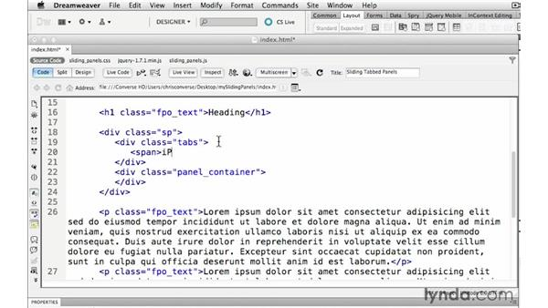 Creating the HTML containers for the tabs: Create a Sliding Tabbed Panel with jQuery and Dreamweaver