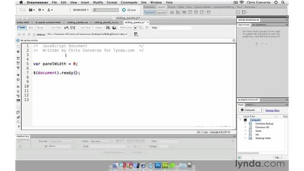 Adding the jQuery document ready: Create a Sliding Tabbed Panel with jQuery and Dreamweaver