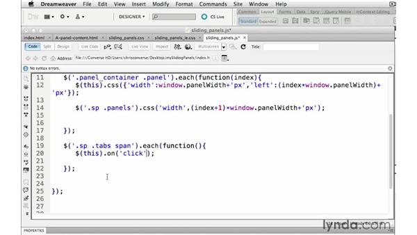 Assigning click events to the tabs: Create a Sliding Tabbed Panel with jQuery and Dreamweaver