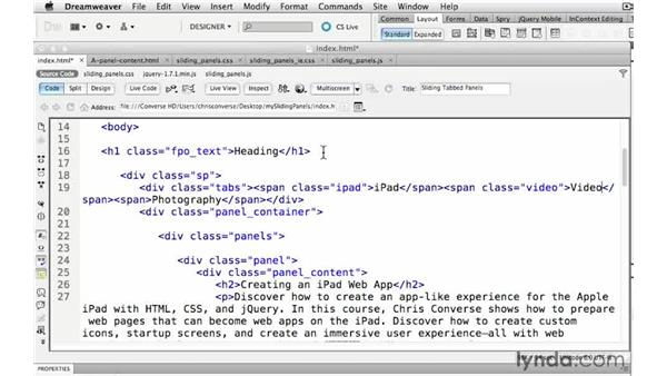 Assigning custom classes to the HTML elements: Create a Sliding Tabbed Panel with jQuery and Dreamweaver