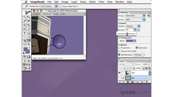 matte color in ImageReady: Learning Photoshop CS for the Web