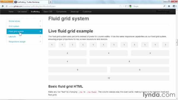 Understanding the difference between default and fluid grids: Up and Running with Bootstrap 2