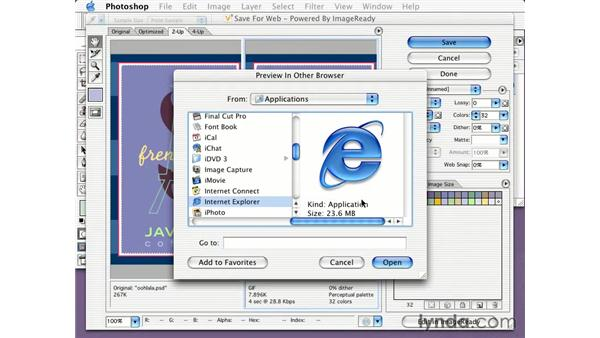 previewing in a browser: Learning Photoshop CS for the Web