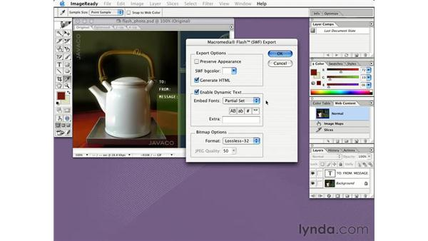 exporting images as Flash files: Learning Photoshop CS for the Web