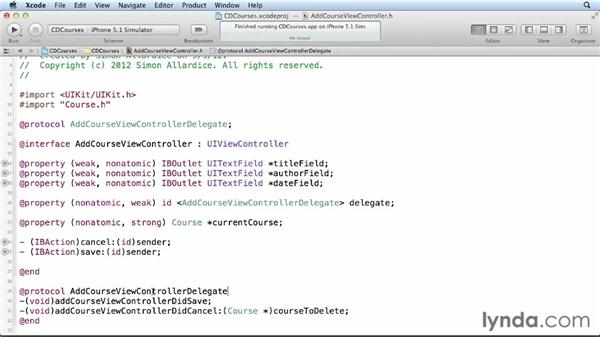 Creating and configuring the modal view controller: Core Data for iOS and OS X